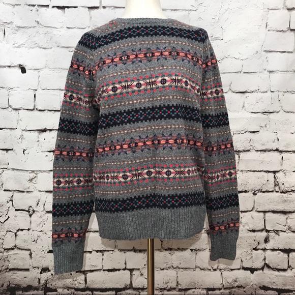 67% off J. Crew Other - J. Crew Fair Isle Gray Lambs Wool Sweater ...